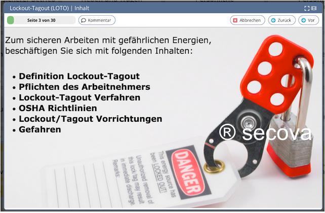 Unterweisung Lockout-Tagout