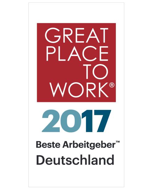 auszeichnung great place to work als bester arbeitgeber in deutschland im jahr 2017